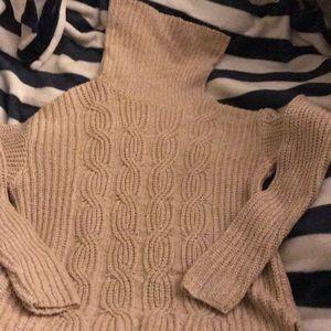 Cowl neck cream/champagne sweater